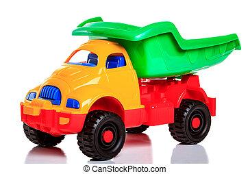 白, おもちゃのトラック, 隔離された, 背景