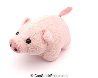 白, おもちゃ, 柔らかい, 背景, 豚