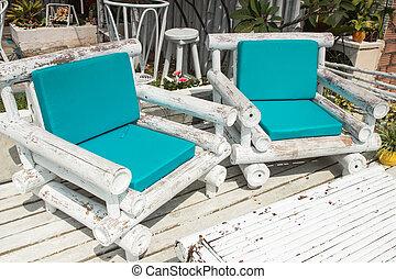白, そして, 緑, 浜の 椅子