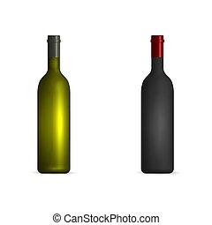 白, びん, ベクトル, illustration., ワイン, 赤