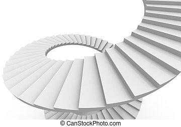 白, らせん状に動きなさい, stair.