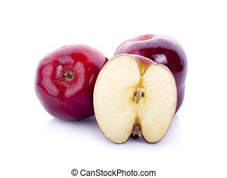 白, りんご, 赤, 隔離された