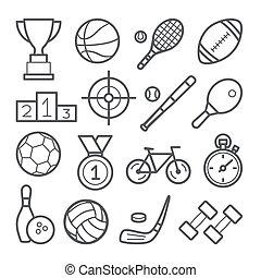 白, アイコン, スポーツ, セット, 背景, 線