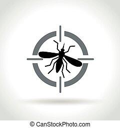 白, アイコン, ターゲット, 背景, 蚊