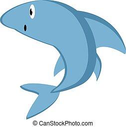 白, イラスト, サメ, ベクトル, 青, バックグラウンド。