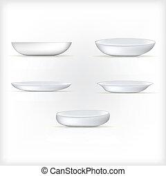 白, イラスト, 皿