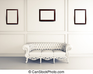 白, インテリア・デザイン, の, 反響室, ∥で∥, ソファー, そして, 写真フレーム
