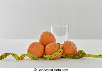 白, オレンジ, テープ, 測定