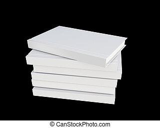 白, カバー, 本, 隔離された, 上に, 黒