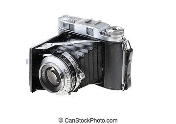 白, カメラ, 古い, 隔離された, 背景