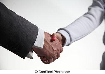 白, クローズアップ, 背景, ビジネス, 握手