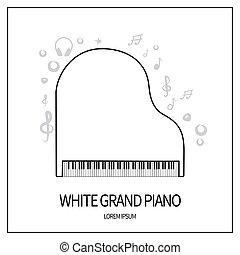 白, グランドピアノ