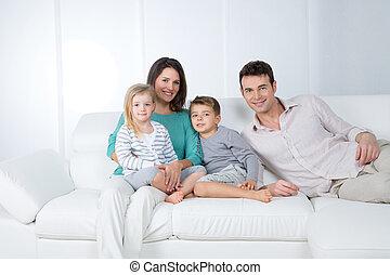 白, グループ, 背景, 家族, 幸せ
