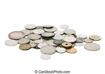 白, コイン, 古い, 隔離された, 背景