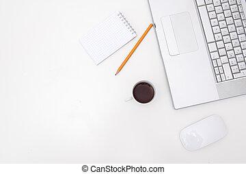 白, コピー, 机, スペース