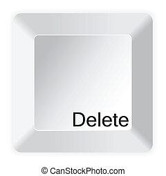 白, コンピュータのキー, 削除, ボタン