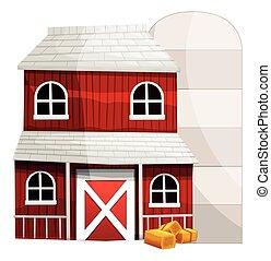白, サイロ, 赤い背景, 納屋