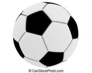 白, サッカー, 黒い球
