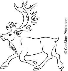 白, シルエット, 鹿, 背景