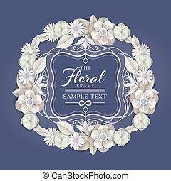白, スタイル, ペーパー, フレーム, 型, 切口 花, 抽象的, graphic., ベクトル, ボーダー, 花の花輪, illustration.