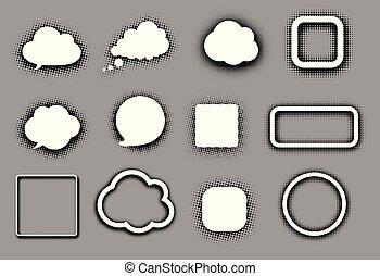 白, スピーチ, 雲, そして, フレーム, 上に, grey.
