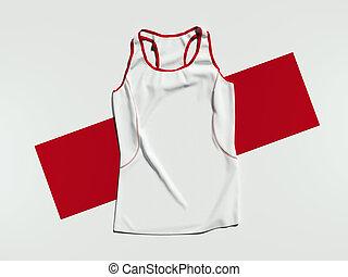 白, スポーツ, ワイシャツ, 上に, 赤, rectangle., 3d, レンダリング