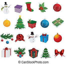 白, セット, クリスマス, 背景, アイコン