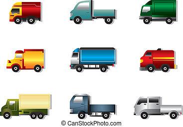 白, セット, トラック, アイコン