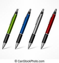 白, セット, ペン, 有色人種