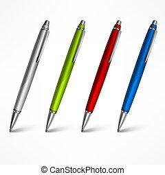 白, セット, ペン, 高い