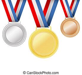 白, セット, メダル