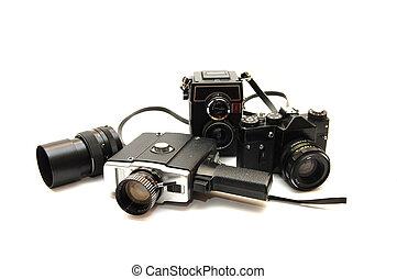 白, セット, 古い, cameras, 背景