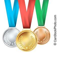 白, セット, 構成, メダル