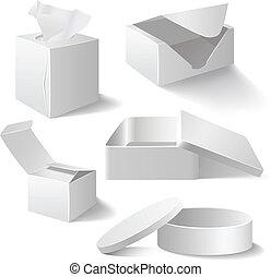 白, セット, 箱, 隔離された