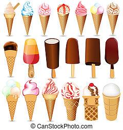 白, セット, 背景, アイスクリーム