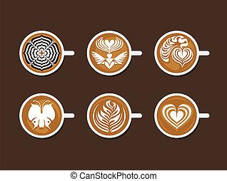 白, セット, 芸術, latte, カップ