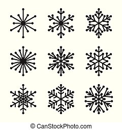 白, セット, 雪片, 背景