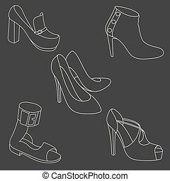 白, セット, 靴, 背景