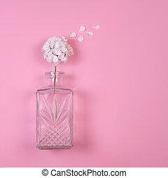 白, ゼラニウム, 花, 中に, ガラス つぼ
