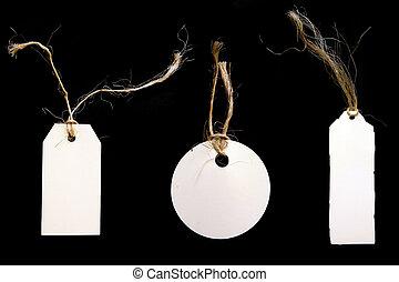 白, タグ, ∥で∥, より糸, 上に, 黒い背景