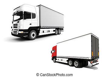 白, トラック, 背景, 3d