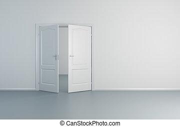 白, ドア, 部屋, 空, 開いた