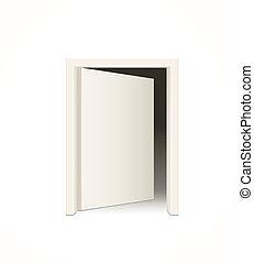 白, ドア, 開いた