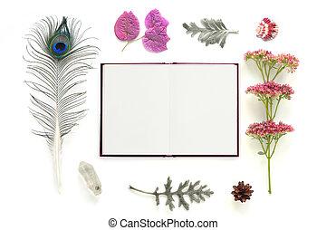 白, ノート, 自然, 構成, 背景