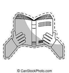 白, ノート, 開いた, アイコン, 手