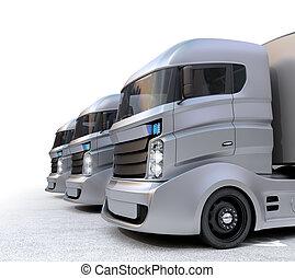 白, ハイブリッド, 電気である, トラック