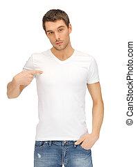 白, ハンサム, ワイシャツ, 人