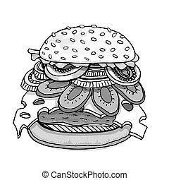 白, ハンバーガー, 隔離された
