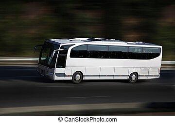 白, バス, 上に, higway