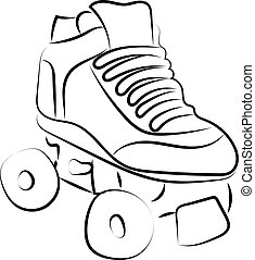 白, バックグラウンド。, スケート, ベクトル, ローラー, イラスト, スケッチ